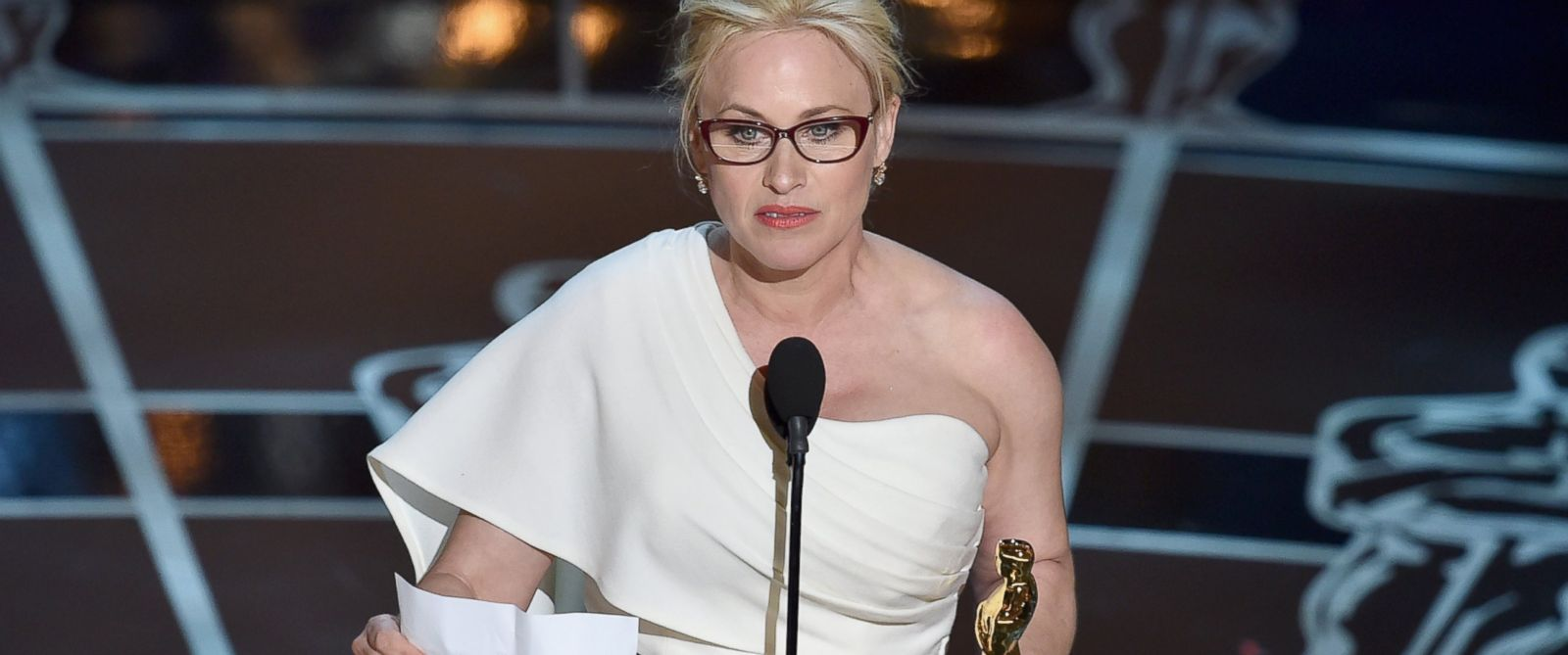 "PHOTO: Actress Patricia Arquette accepts the award for Best Actress in a Supporting Role for ""Boyhood"" during the 87th Annual Academy Awards, Feb. 22, 2015 in Hollywood, California."