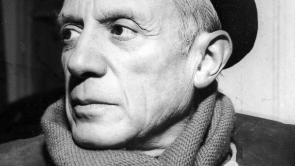 Portrait of Spanish-born artist Pablo Picasso is seen in this undated photo taken in the 1950s in a winter coat, scarf and beret. PHOTO: