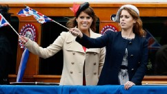 PHOTO: Princesses Beatrice, right, and Princess Eugenie wave during the Thames Diamond Jubilee Pageant, in London, June 3, 2012.