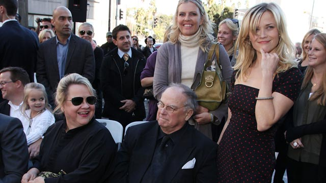 PHOTO: Dr. Betty Reese, left, and Dr. John Witherspoon with daughter Reese Witherspoon at Walk of Fame Ceremony, December 1, 2010, Hollywood, California.
