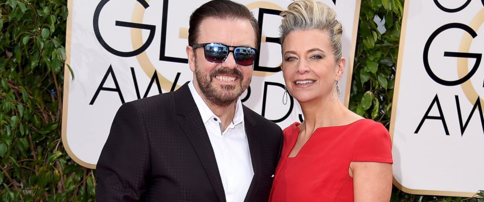 PHOTO: Ricky Gervais and Jane Fallon attend the 73rd Annual Golden Globe Awards held at the Beverly Hilton Hotel on Jan. 10, 2016, in Beverly Hills, California.