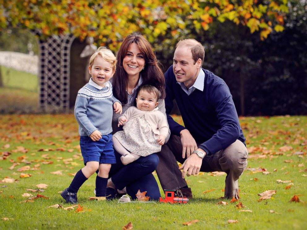 PHOTO: This undated handout image provided by Kensington Palace shows Prince William, Duke of Cambridge and Catherine, Duchess of Cambridge with their children, Prince George and Princess Charlotte, in a photograph taken late October at Kensington Palace.