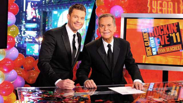 PHOTO: Ryan Seacrest, left, and Dick Clark attend Dick Clarks New Years Rockin Eve with Ryan Seacrest 2011 in Times Square, Dec. 31, 2010 in New York City