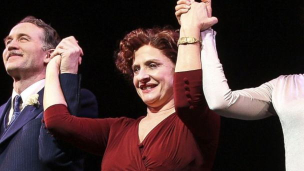 "PHOTO: Patti LuPone, center, takes her curtain call at Broadways opening night of ""Gypsy"" at the St. James Theater in 2008 in New York City."