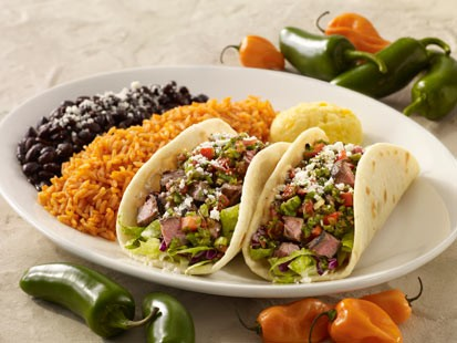 PHOTO: Cat Coras grilled chili-lime flank steak soft tacos are shown h