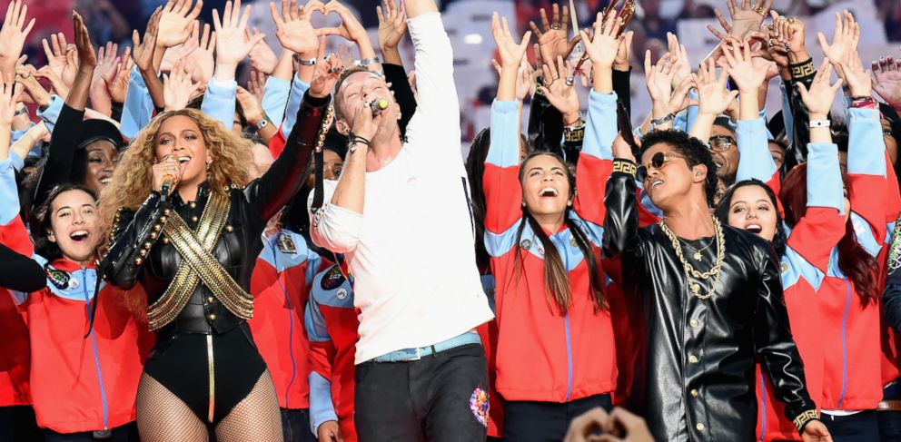 PHOTO: Beyoncé, Chris Martin of Coldplay and Bruno Mars perform onstage during the Pepsi Super Bowl 50 Halftime Show at Levis Stadium on Feb. 7, 2016 in Santa Clara, Calif.