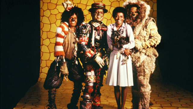 "PHOTO: The cast of ""The Wiz"" left to right, Michael Jackson, Nipsey Russell, Diana Ross and Ted Ross pose for a publicity shot in 1978 in New York."