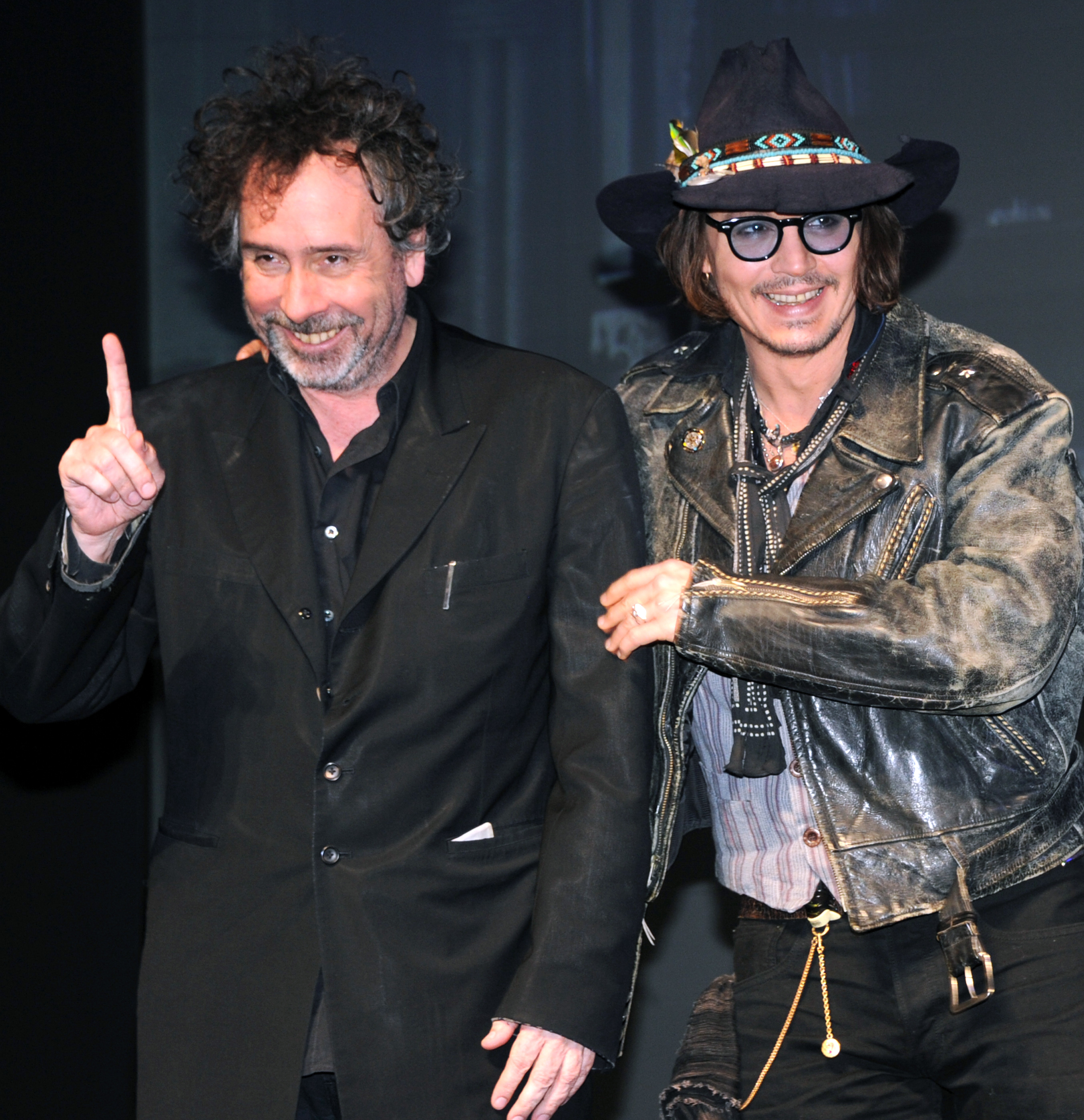 "PHOTO: Johnny Depp and film director Tim Burton pose during a photo session at the press conference on his latest movie, ""Dark Shadow"" in Tokyo on May 13, 2012."