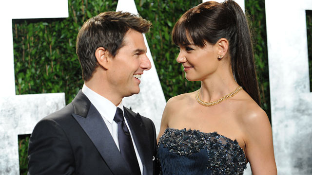 PHOTO: Katie Holmes and Tom Cruise attend the 2012 Vanity Fair Oscar Party at Sunset Tower on Feb. 26, 2012 in West Hollywood.