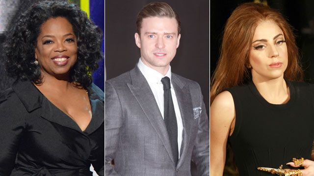 PHOTO: Oprah Winfrey, Justin Timberlake and Lady Gaga are among the most influential celebrities.