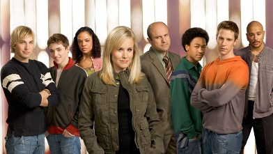 "PHOTO: The cast of ""Veronica Mars,"" Dec. 18, 2005. Kristen Bell, front, background from left, Ryan Hansen, Kyle Gallner, Tessa Thompson, Enrico Colantoni, Percy Daggs, III, Joason Dohring and Francis Capra."