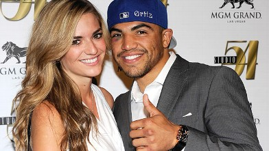 PHOTO: Boxer Victor Ortiz and his girlfriend Alexia Garland arrive at a post-fight party at Studio 54 inside the MGM Grand Hotel/Casino, Sept. 18, 2011 in Las Vegas.