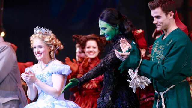"PHOTO: From left, actors Alli Mauzey, Willemijn Verkaik and Kyle Dean Massey take a bow in ""Wicked"" on Broadway at Gershwin Theatre, Feb. 12, 2013 in New York."