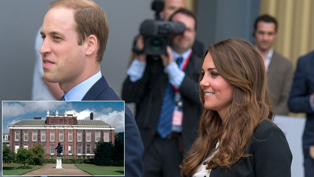 PHOTO: Prince William and kate visit Warner Bros Studios, April 26, 2013 in Watford, England. Inset: Kensington palace is shown.