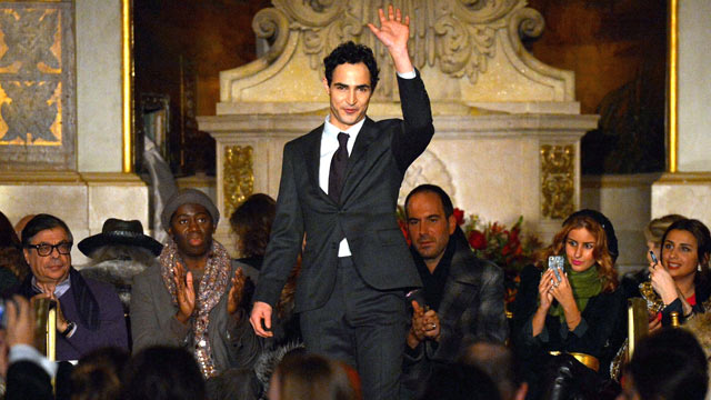 PHOTO: Designer Zac Posen walks the runway at the Zac Posen Fall 2013 fashion show during Mercedes-Benz Fashion Week on February 10, 2013 in New York City.