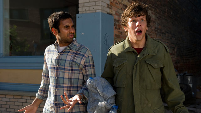 "PHOTO: Jesse Eisenberg and Aziz Ansari star in the new movie ""30 minutes or Less""."