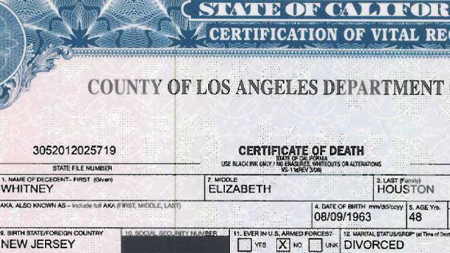 PHOTO: Whitney Houstons official death certificate has been released to the public.