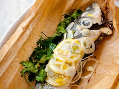 PHOTO: The sea bass parcel from the Silver Spoon Cookbook is shown here.