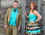 PHOTO: Amber Squires and Cody Britt wore a matching duct tape ensemble to the prom last week.