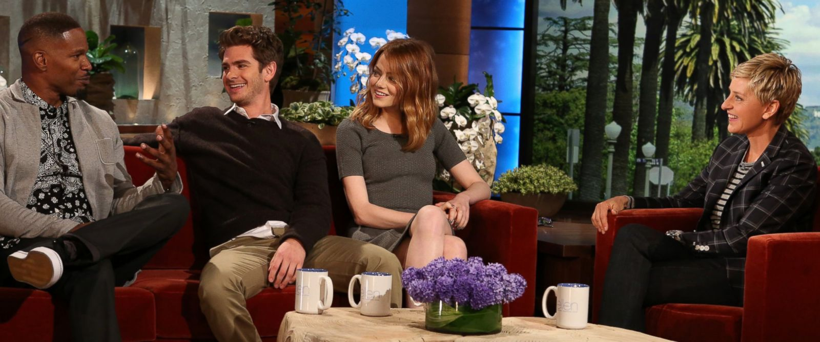 "PHOTO: The cast of ""The Amazing Spider-Man 2"" Andrew Garfield, Emma Stone and Jamie Fox make an appearance on ""The Ellen DeGeneres Show"", April 4, 2014."