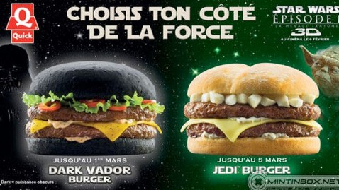 ht darth vader burger nt 120106 wblog Fast Food Chain Launches Star Wars Themed Vader Burger