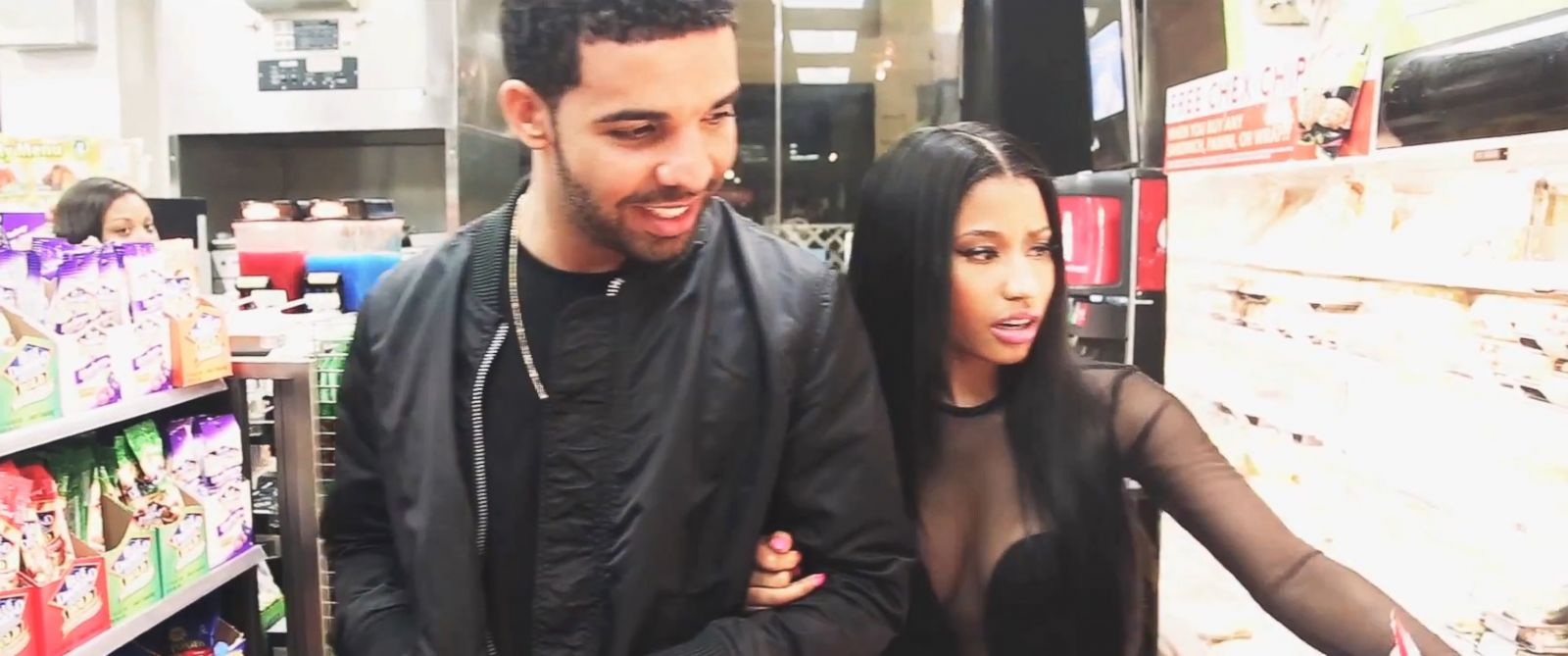 "PHOTO: Singers Drake and Nicki Minaj go shopping in a video titled, ""Nicki & Drake on the set of Ushers ""She Came to Give It to You"" video"" posted to Minajs YouTube channel on Aug. 26, 2014."