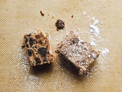 PHOTO: Jackies holiday fruitcake bars, from the Dahlia Bakery Cookbook, are shown here.