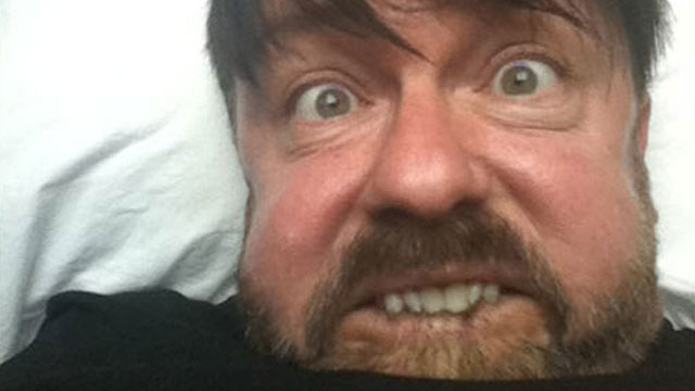 PHOTO:Ricky Gervais is pictured making a face on his blog in this June 2011 file photo.