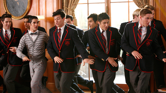 """PHOTO: Blaine performs with the Warblers in """"The First Time"""" episode of Glee airing, Nov. 8, 2011."""