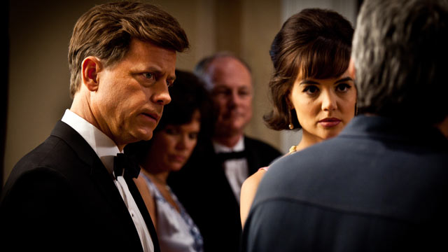 """PHOTO: Seen here is Katie Holmes and Greg Kinnear, debut in controversial mini-series """"The Kennedys""""."""