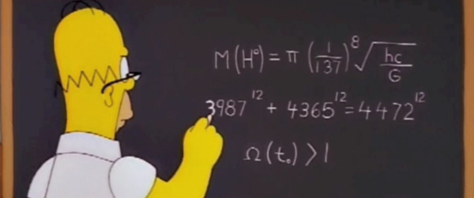"""PHOTO: Homer Simpson appears to predict the mass of the Higgs boson particle in a grab made from a 1998 episode of """"The Simpsons."""""""