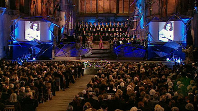 "PHOTO: James Whitbourn performs his ""Annelies,"" a tribute to Anne Frank, at the National Commemoration Event in Westminster Hall in London in this 2005 file photo."