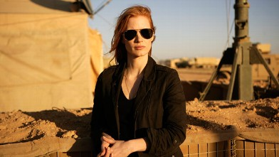 "PHOTO: Jessica Chastain playing a member of the elite team of spies and military operatives stationed in a covert base overseas who secretly devoted themselves to finding Osama Bin Laden in Columbia Pictures' gripping new thriller, ""Zero Dark Thirty."""