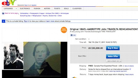 ht john travolta dm 110929 wblog John Travolta Reincarnated? eBay Seller Posts Eerie Photo
