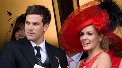 PHOTO: Katherine Jenkins and boyfriend Gethin Jones watch the racing on Day 2 of Royal Ascot at Ascot Racecourse on June 15, 2011 in Ascot, England.