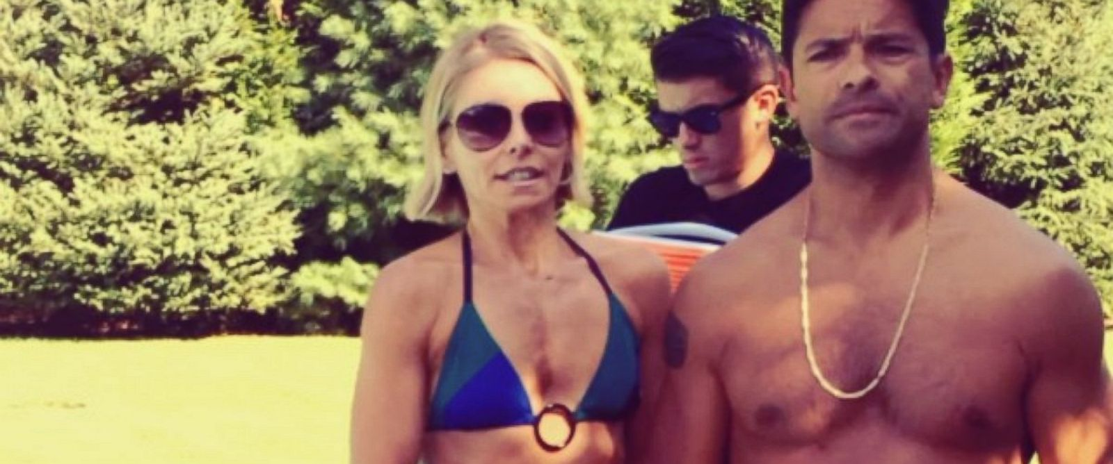 "PHOTO: Kelly Ripa and Mark Consuelos in a frame still from a video posted to Instagram on Aug. 20, 2014 with the caption, ""Oh boy. Here is our response to the ALS ice bucket challenge. @instasuelos @oddly_long_username."""