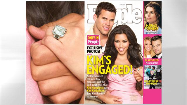 PHOTO:Kim Kardashian and Kris Humphries announce their engagement.