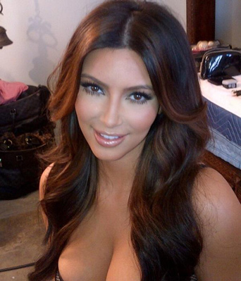 ht kim kardashian hair lingerie 2 ll 120131 vblog Kim Kardashian Posts Cleavage Photo, Asks You to Look at Her Hair