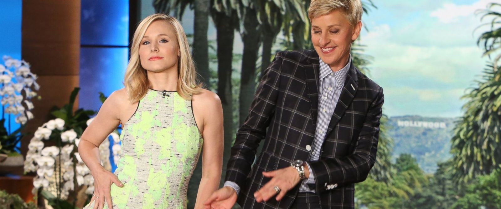 "PHOTO: Actress Kristen Bell makes an appearance on ""The Ellen DeGeneres Show"", April 18, 2014."