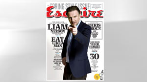 PHOTO: Cover promo of the March 2011 Esquire magazine, featuring actor Liam Neeson.