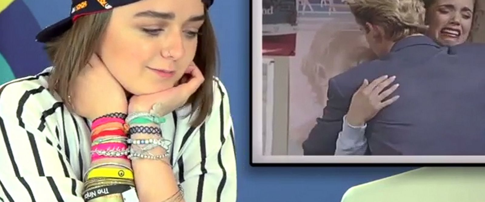 """PHOTO: Maisie Willams in a frame grab from the """"Teens React to Saved by the Bell"""" video posted to YouTube."""