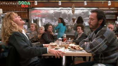 """PHOTO: Meg Ryan and Billy Crystal appear in a scene from the 1989 movie, """"When Harry Met Sally..."""""""