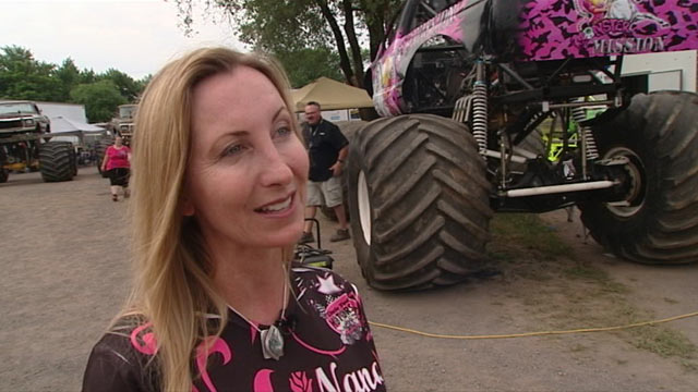 PHOTO: Nancy Olson is part of a growing pool of women going up against the guys in the mega-macho sport of monster truck racing, while balancing the demands of family life.