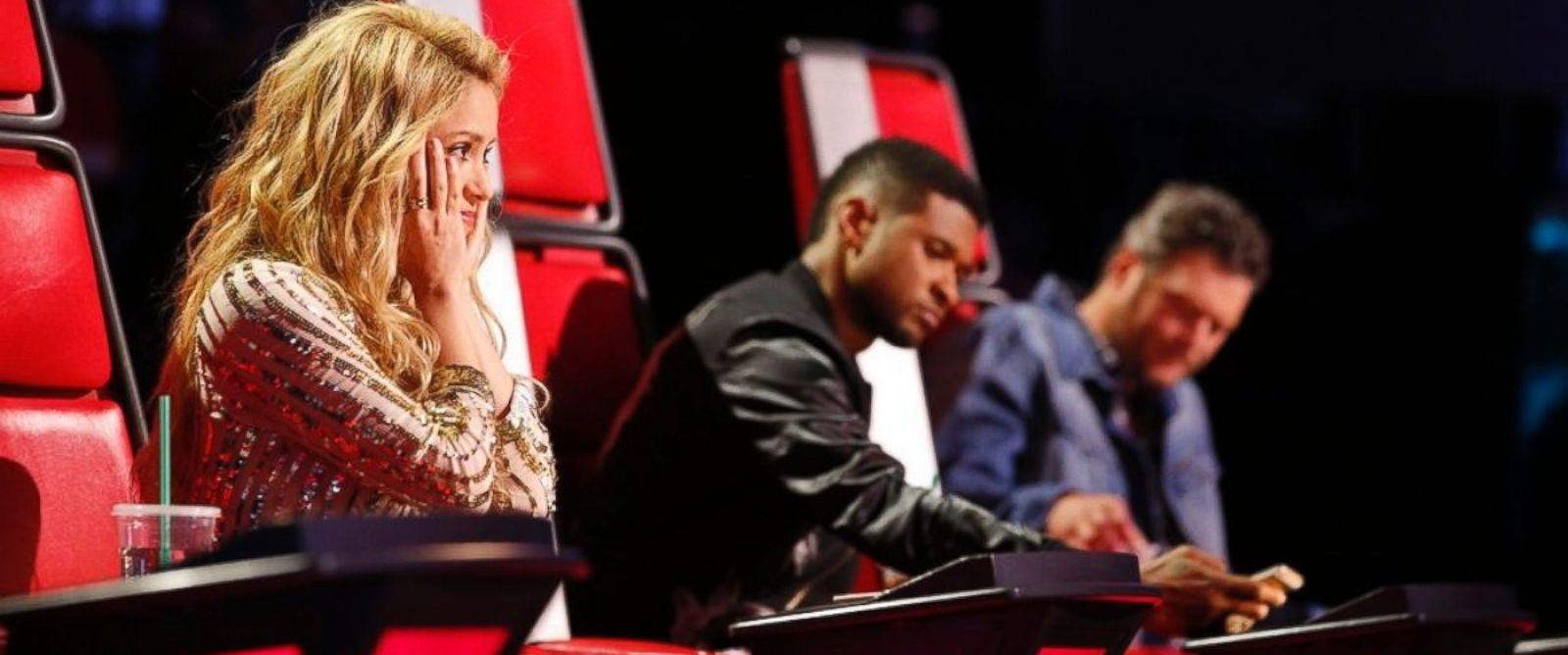 Shakira, Usher, Blake Shelton are seen on The Voice, April 22, 2014.
