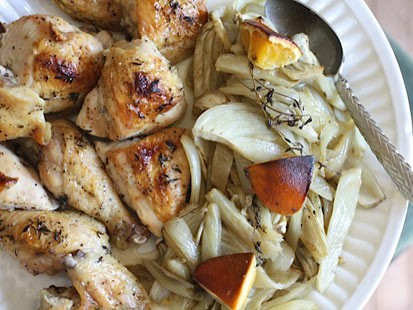 PHOTO: Rachel Willens honey-orange roasted chicken with fennel is shown here.