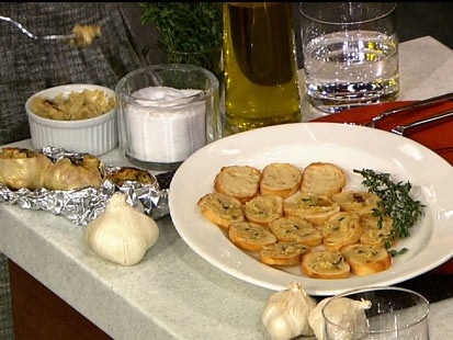 PHOTO: Carla Halls roasted garlic spread is shown here.