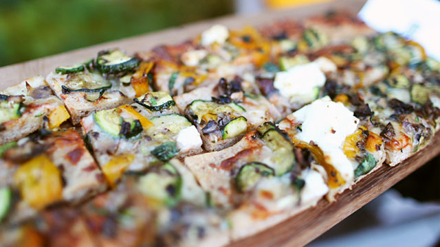 PHOTO: Roasted vegetable and ricotta pizza