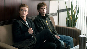 "PHOTO Justin Timberlake, left, and Jesse Eisenberg in Columbia Pictures ""The Social Network."""