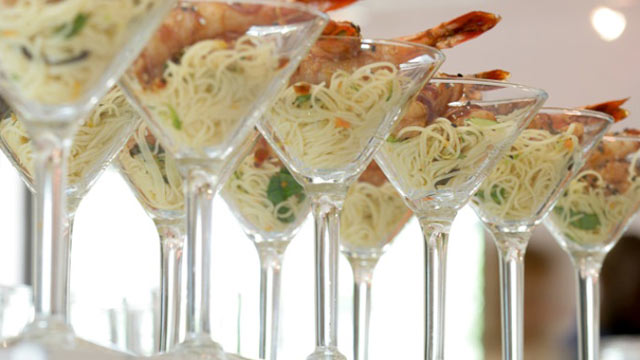 PHOTO: Andrea Correale's shrimp over capellini is shown here.