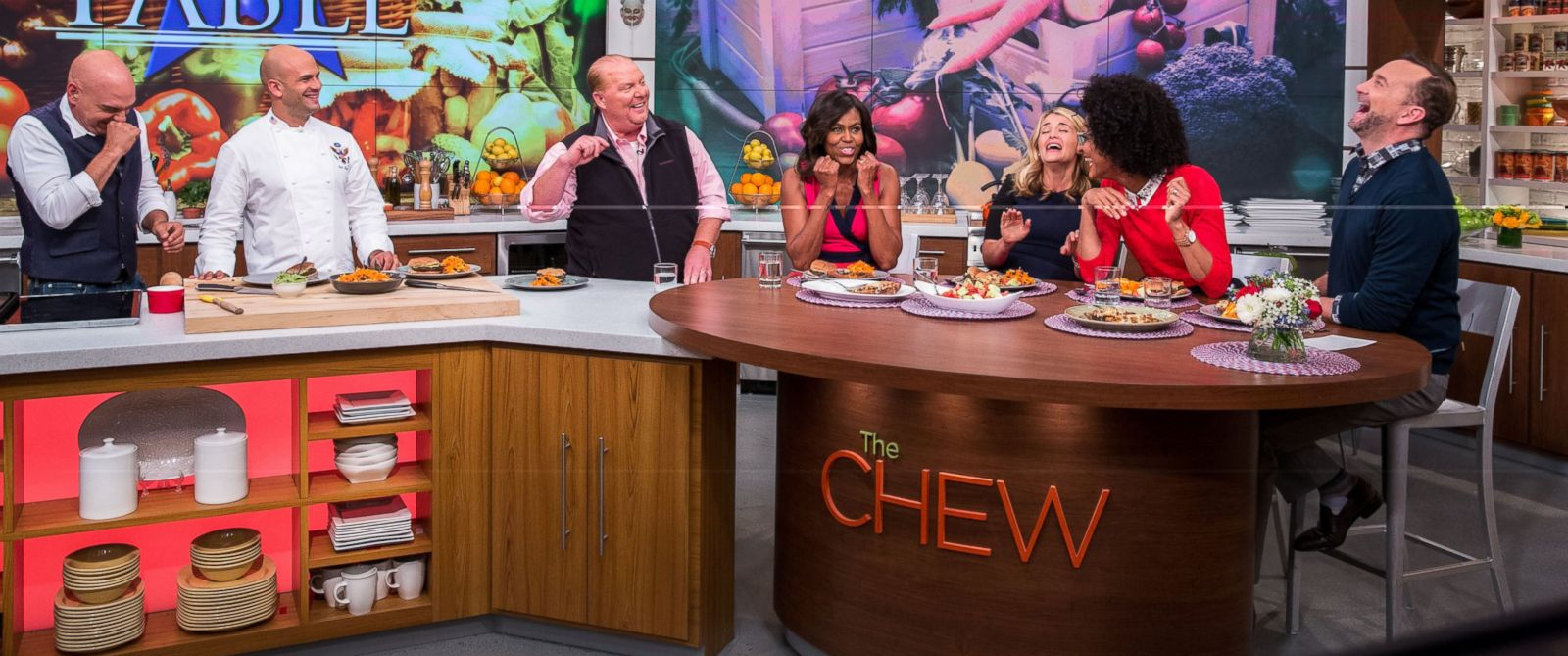 """PHOTO: First Lady Michelle Obama tapes four segments of """"The Chew"""" at the Chew Studio in New York City, Sept. 23, 2014."""